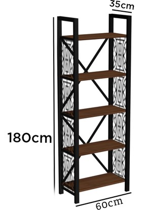 Wood'n Love Rea Desen 3 5 Raflı Metal Kitaplık - Siyah / Ceviz