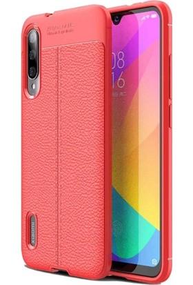 Tbkgsm Xiaomi Mi9 Lite Deri Dokulu Silikon Kılıf Kırmızı