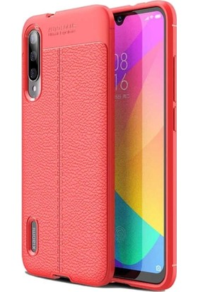 Tbkgsm Xiaomi Mi9 Lite Deri Dokulu Silikon Kılıf + Nano Ekran Koruyucu Kırmızı