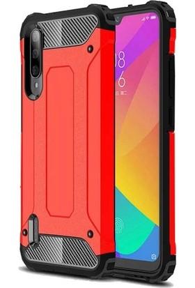 Tbkgsm Xiaomi Mi9 Lite Çift Katmanlı Tank Kapak + Nano Ekran Koruyucu Kırmızı