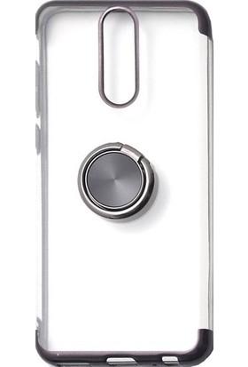 Tbkgsm Meizu Note 8 Lazer Yüzüklü Silikon Kılıf + Nano Ekran Koruyucu Siyah