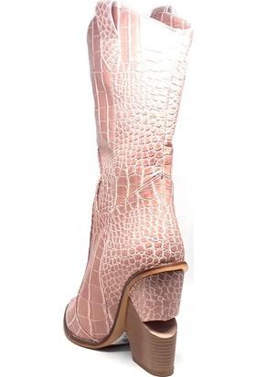 Shop And Shoes 091-1400 Kadın Bot Pudra Kroko