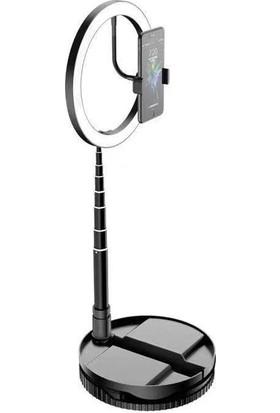 CoverZone Katlanabilir Tripodlu Telefon Tutuculu Youtuber Makyaj 3 Kademeli LED Selfie Işığı