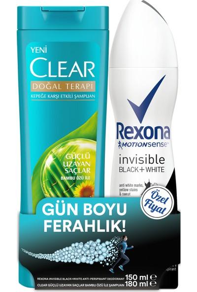 Rexona Invisible Black + White Kadın Sprey Deodorant 150 ml + Clear Güçlü Uzayan Saçlar Şampuan 180 ml Set