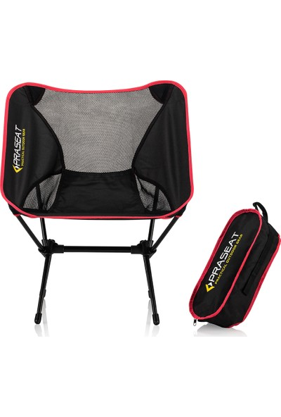 Praseat Kamp Sandalyesi Pratik Çantalı Plaj Sandalyesi Kırmızı