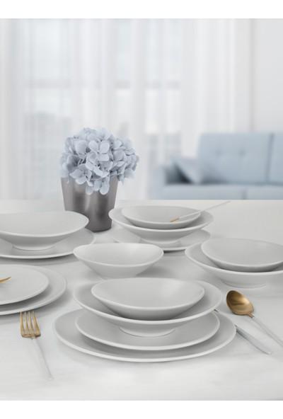 Keramika Mat Beyaz Oval Yemek Takımı 24 Parça 6 Kişilik