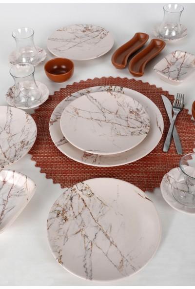 Keramika Kahverengi Mermer Kahvaltı Takımı 19 Parça 4 Kişilik 17802