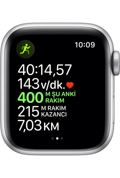 Apple Watch Nike Seri 5 40mm GPS Silver Alüminyum Kasa ve Pure Platinum/Siyah Nike Spor Kordon MX3R2TU/A