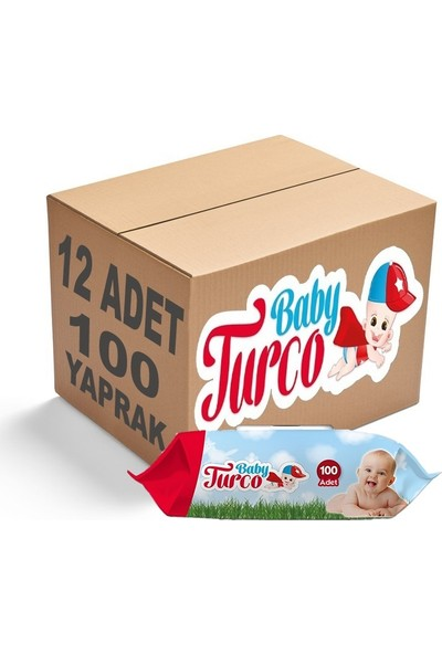 Baby Turco Islak Havlu Mendil Klasik 100 Yaprak 12'li Set Plastik Kapaklı