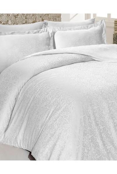 Primacasa Jakarlı Saten Nevresim Seti Sarmasık Beyaz 200x220 cm