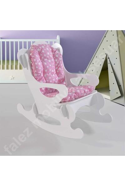 Falez Mobilya Sallanan Çocuk Sandalyesi Koltuk Pembe Yıldızlı Minder