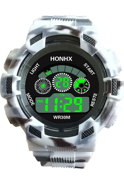 HONHX Dijital LED Kuvars Spor Erkek Genç Çocuk Kol Saati - Gri