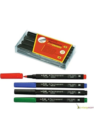 Lıneplus M/ Siyah Permanent Kalem 12'Li