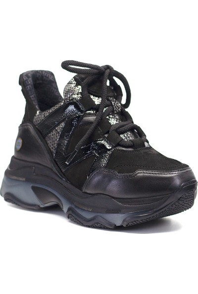 Mammamia D19KA-3415 Kadın Deri Spor Ayakkabı Siyah