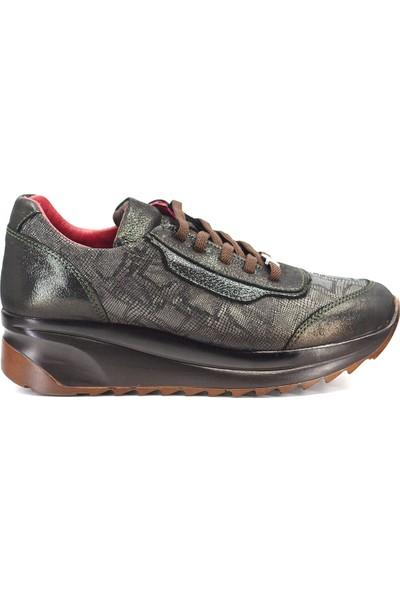 Mammamia D19KA-475 Kadın Deri Günlük Ayakkabı Haki