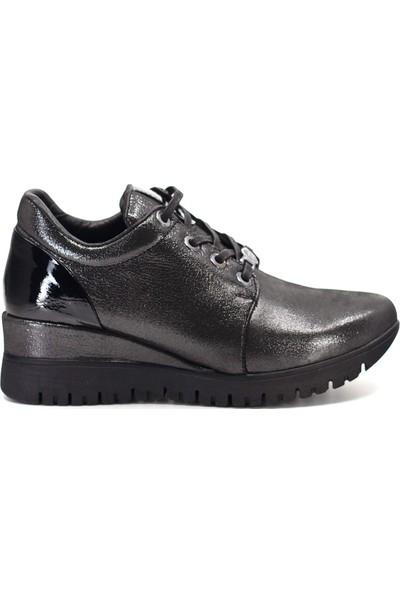 Mammamia D19KA-480-1 Kadın Deri Günlük Ayakkabı Platin