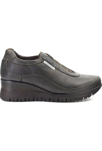 Mammamia D19KA-490 Kadın Deri Günlük Ayakkabı Haki