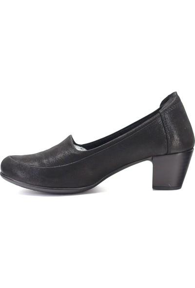 Mammamia D19KA-525-1 Kadın Deri Topuklu Ayakkabı Siyah