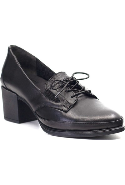 Mammamia D19KA-645 Kadın Deri Topuklu Ayakkabı Siyah