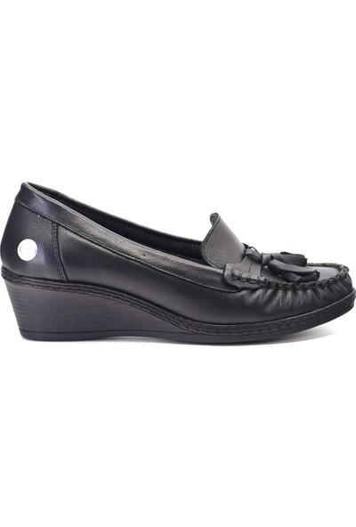Mammamia D19KA-965 Kadın Deri Günlük Ayakkabı Siyah