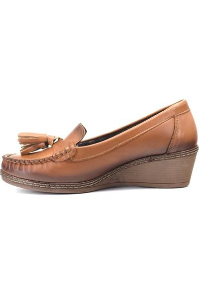 Mammamia D19KA-965 Kadın Deri Günlük Ayakkabı Taba