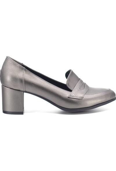 Eşle 9K-9055 Kadın Topuklu Ayakkabı Platin
