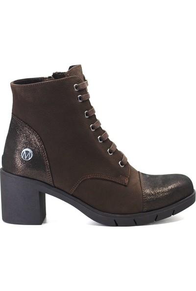 Eşle 9K-3180 Kadın Deri Topuklu Bot Koyu Kahverengi