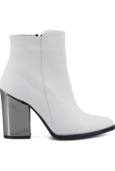 Eşle 9K-092600 Kadın Topuklu Bot Beyaz