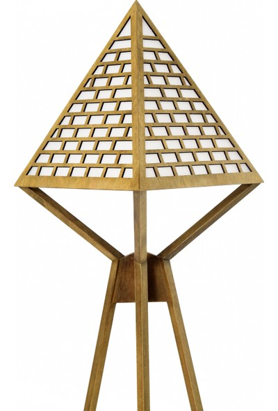 Flywood Ahşap Piramit Dekoratif Lambader