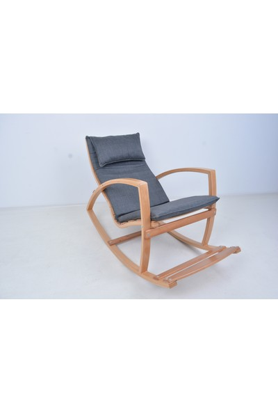 Mobil Deco Mobildeco Ahşap Sallanan Sandalye Dinlenme Koltuğu Lacivert