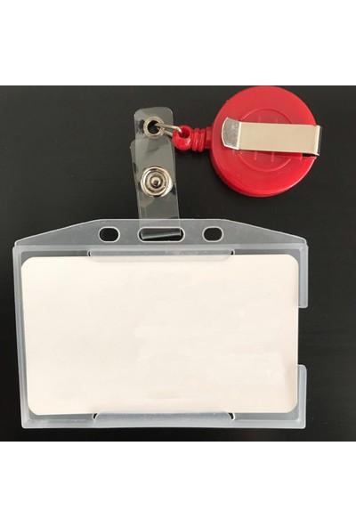 Prime Case Kırmızı Yaka Kartı Tutucu (Plastik Yoyo) ve Yaka Kart Kabı