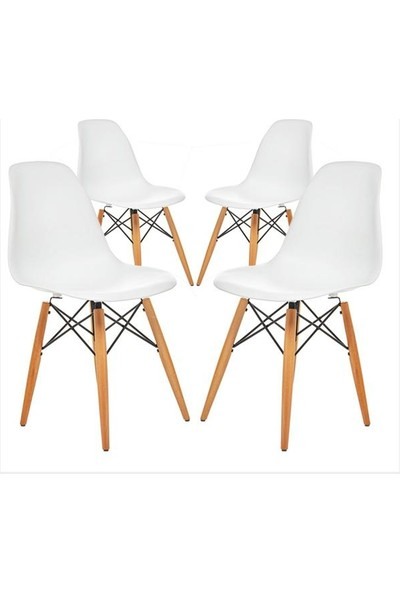 Avta Eames Natural Ahşap Ayaklı 4'lü Sandalye Beyaz