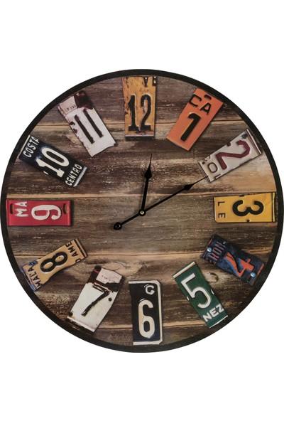 Zarif Dekoratif Plaka Efektli Uv Baskı Duvar Saati 50 x 50 cm