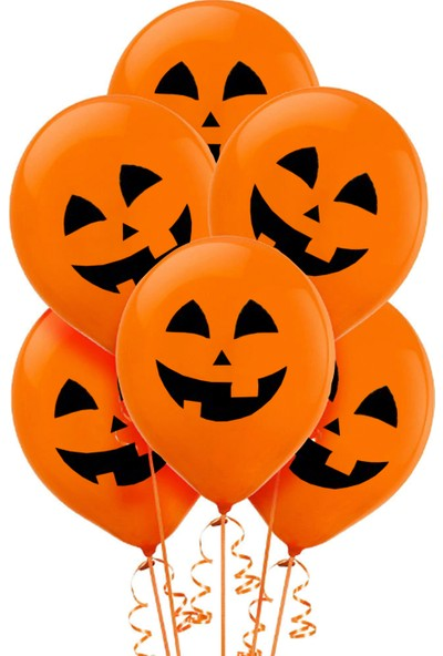 Kullan At Market Cadılar Bayramı Balkabağı Baskılı Turuncu Balon 10'lu