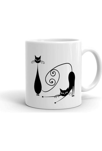 2k Dizayn Kara Kediler Tasarım Seramik Kupa Bardak