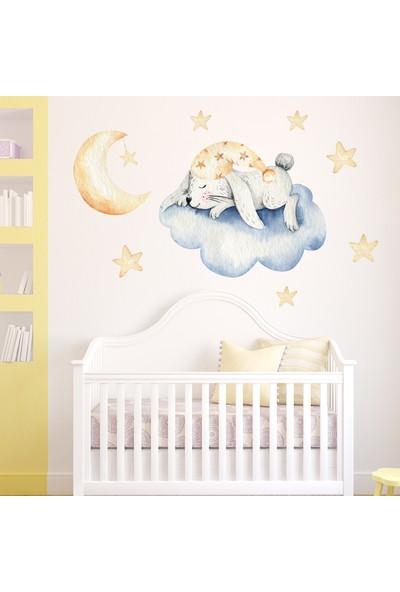 Sim Tasarım Bulutta Uyuyan Sevimli Tavşan Stickerı Mavi