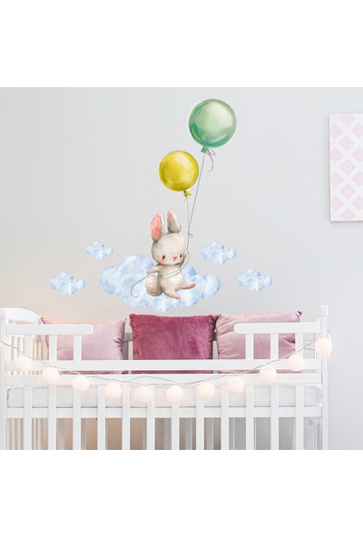 Sim Tasarım Balonlu Tavşan Duvar Stickerı