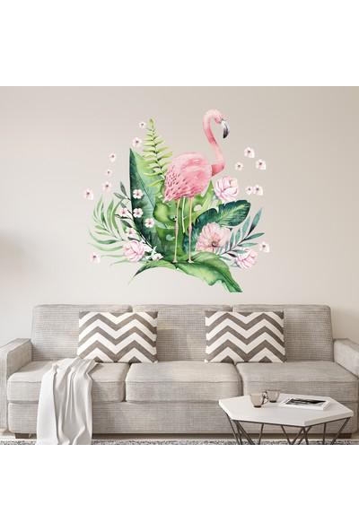 Sim Tasarım Flamingo ve Tropikal Yapraklar Duvar Stickerı