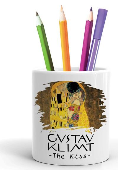 2K Dizayn Gustav Klimt The Kiss Tasarım Seramik Kalemlik