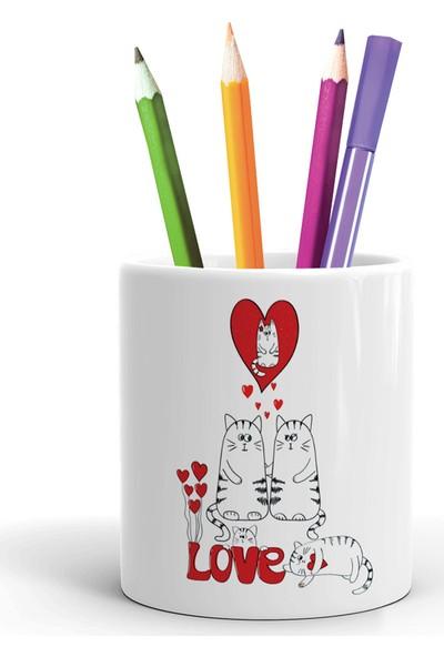 2K Dizayn Aşk ve Kediler Tasarım Seramik Kalemlik