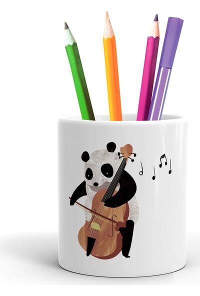 2K Dizayn Panda Viyolonsel Tasarım Seramik Kalemlik