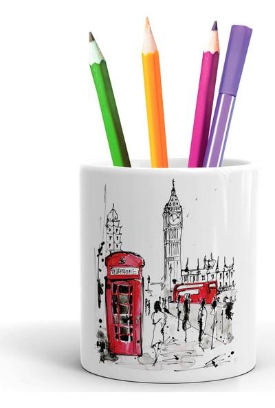 2K Dizayn Londra Çizim Tasarım Seramik Kalemlik