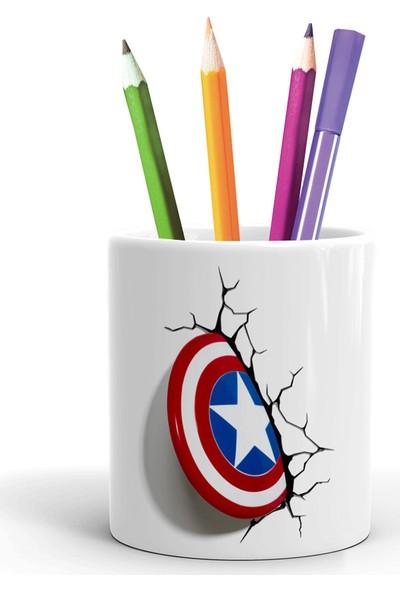 2K Dizayn Kaptan Amerika Tasarım Seramik Kalemlik