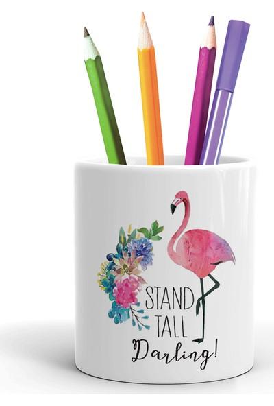 2K Dizayn Stand Tall Darling Flamingo Tasarım Seramik Kalemlik