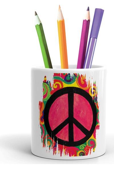 2K Dizayn Barış Işareti Tasarım Seramik Kalemlik