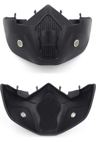 Cylox Motosiklet Yüz Koruyucu Açılabilir Gözlüklü Maske - Siyah Cam