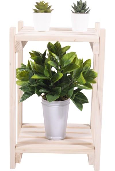 Woodensa Masif Ahşap Çiçek Saksı Standı Çiçek Rafı Balkon Saksılık