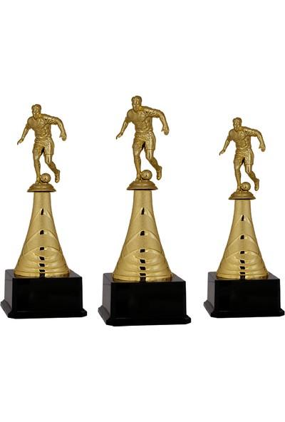 Futbol Figürlü Metal Ödül Kupası F35 - 3'lü Set