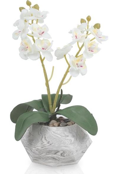 Çiçekmisin Mermer Saksıda Dekoratif Orkide Yapay Çiçek
