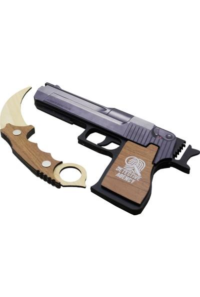 Camp Clover Ahşap Bıçak ve Ahşap Silah 2'li Set